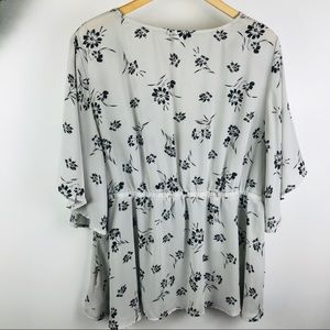 torrid Tops - Torrid | floral gray peplum faux wrap top blouse